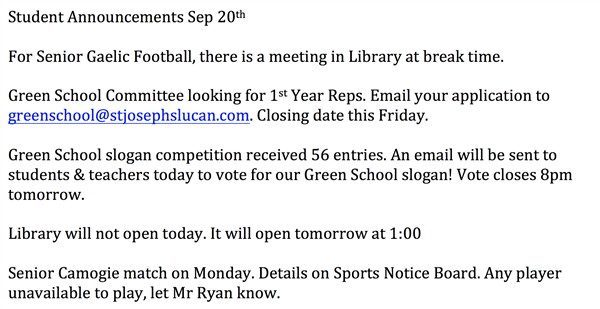 Student Announcements 20th September 2018